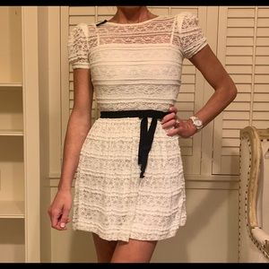 Valentino Red white lace dress with bow